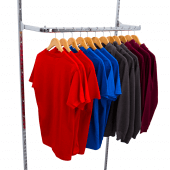 Use this twin slot clothes rail for neat retail displays