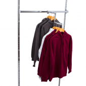 Use a Stepped Twin Slot Arm for a stylish retail clothing display