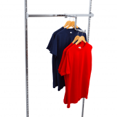 The Stepped Twin Slot Arm allows for multi-level garment displays
