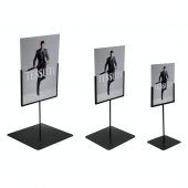 Tall stands with portrait Foamex signs