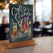 Create professional, creative displays on a small chalk menu board