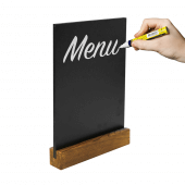 Use chalkboard pens to write on the table chalkboard