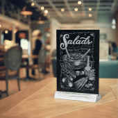 Rustic tabletop chalkboard menu