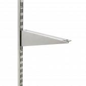 Use twin slot shelf brackets to support shelving