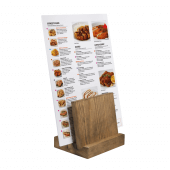 This menu stand can be used with menus wider than the plinth itself