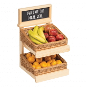 Wooden Basket Display with Chalkboard Header