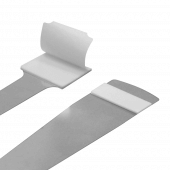 Shelf wobbler strips with opposite side adhesive