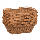 Stackable Wicker Shopping Basket with Folding Handles
