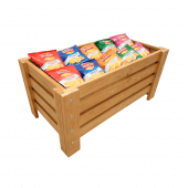 Wooden crate dump bin with wire cage for snack merchandising