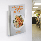 Wall mounted leaflet holder with a portrait orientation