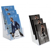 Three tier leaflet holder in portrait orientation, wall mounted