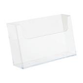 Wall mounted leaflet dispenser in clear styrene