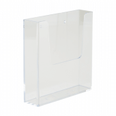 Clear styrene leaflet dispenser with holes for wall fixing