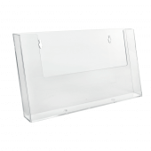 Wall mounted leaflet holder in clear styrene