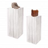 White wooden plinth set, ideal for retail merchandising