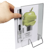 A5 Chrome Wire Base Sign Holder with poster holder