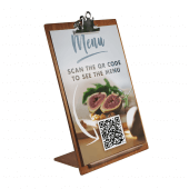 Wooden Menu Holder with a QR code menu insert