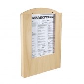 Pocket Wooden Menu Holder A3 in use