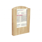 Pocket Wooden Menu Holder A4 in use
