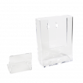 Leaflet holder in portrait orientation, made from clear styrene