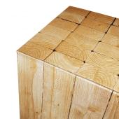 Wooden effect display pedestal close up