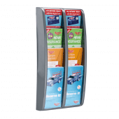 1/3 A4 tiered leaflet holder wall mounted (4 tiers, 8 pockets)