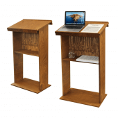 This wooden standing lectern features storage space