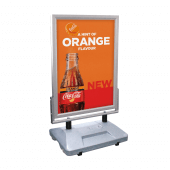 Silver Water Based Pavement Sign with graphics