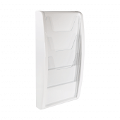White leaflet holder for wall mounting