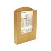 Pocket Wooden Menu Holder A4 in use