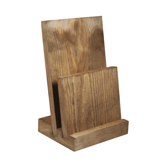 Two Tier Angled Wooden Menu Holder