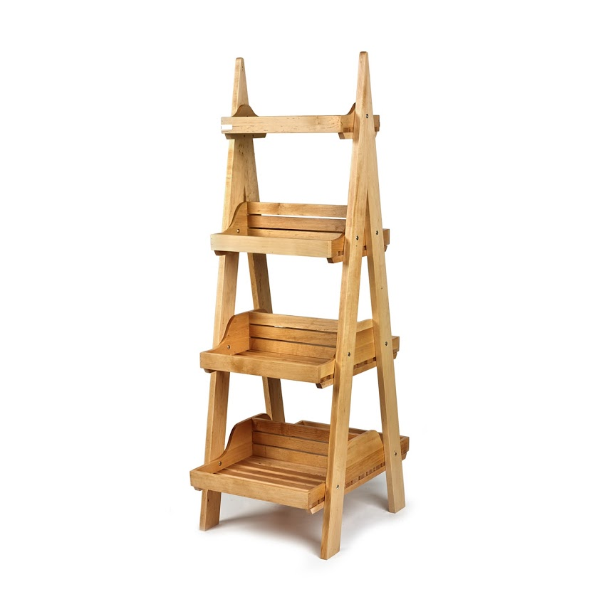 Four tier wooden display stand
