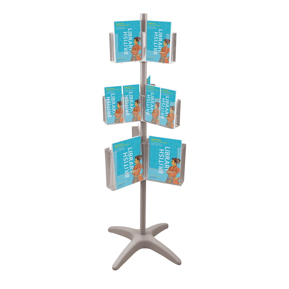 Revolving Leaflet Holder Carousel 3 x A4 Pockets Clear