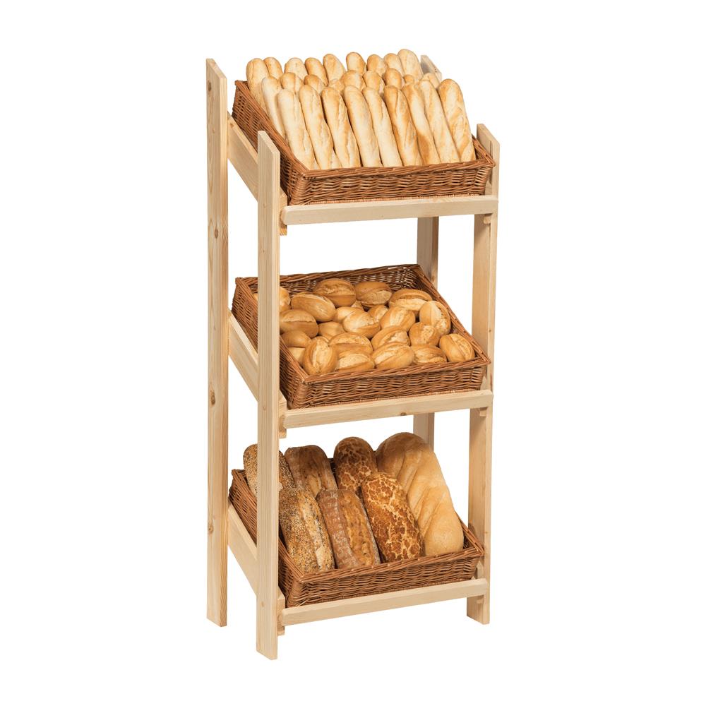 Wooden Wicker Basket Display Stand