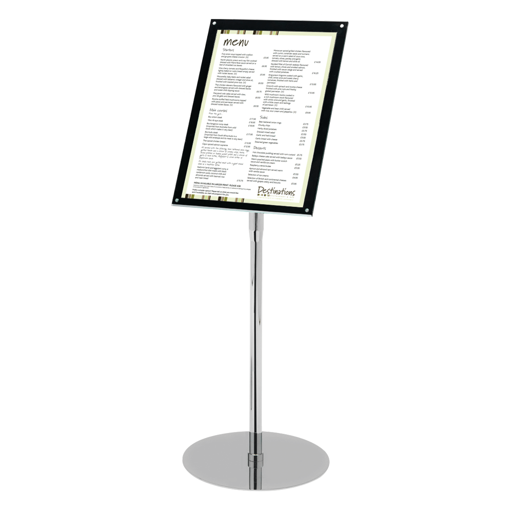 Chrome And Acrylic Floor Standing Poster Holder In A4 And A3