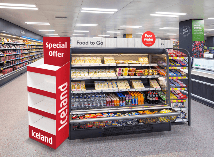 Floor standing display stands in a supermarket are ideal for promotions, stock display stands