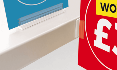 Adhesive shelf sign holders are a quick and easy display method for your shop shelf signs