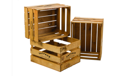 Wooden crates for a branded point of sale display