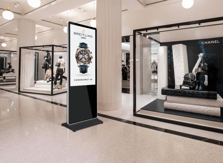 Black digital totem in a department store