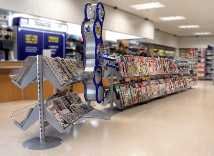 Influence customers with a queue merchandising display