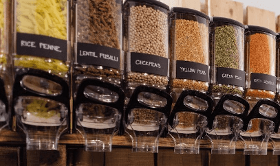 dry food dispenser setting up a zero waste shop