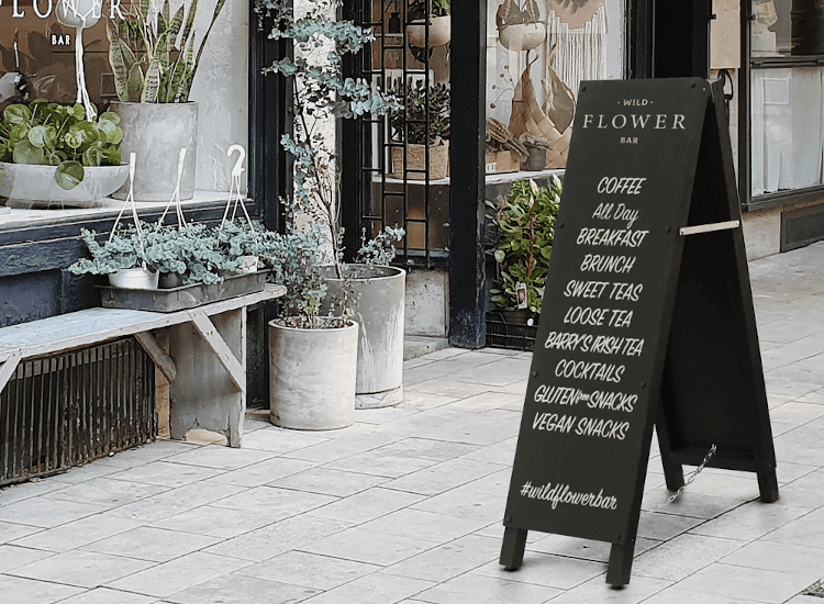 outdoor chalkboard pavement sign