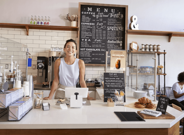 wall mounted chalkboard cafe counter