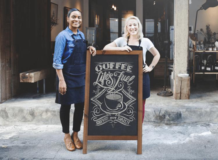 cafe chalkboard pavement sign