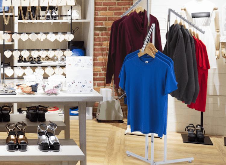 clothes rail displays for pop up shop