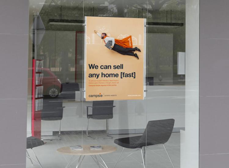 Real estate window display adverts