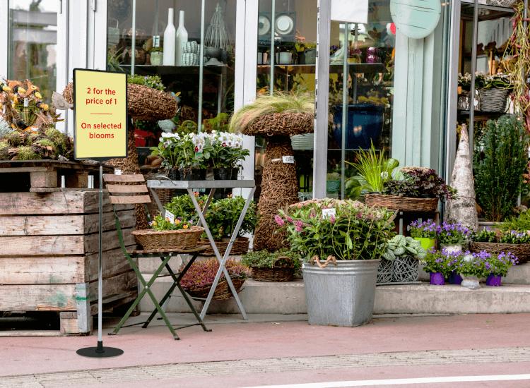 garden centre showcard stand