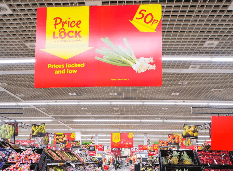 overhead supermarket banner