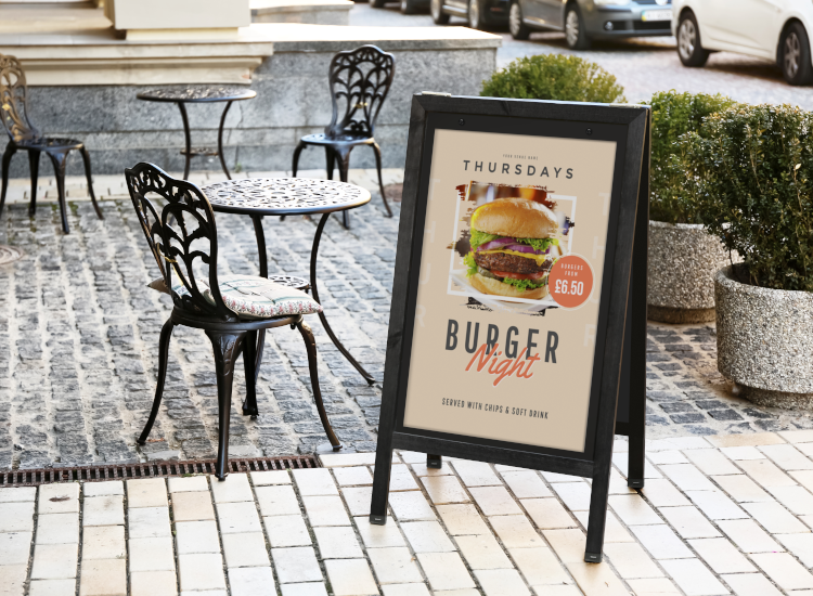 pub menu pavement sign