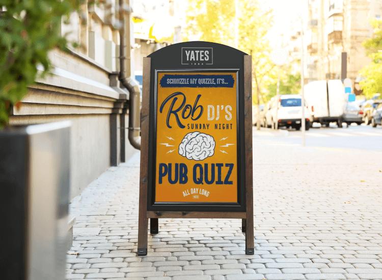 pub quiz pavement sign sandwich boards